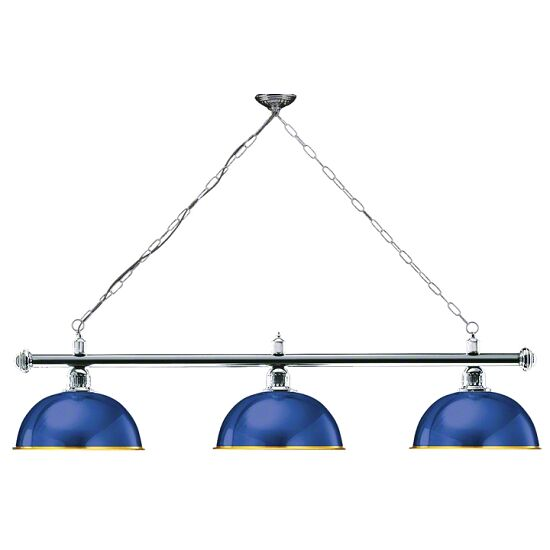 "Automaten Hoffmann Billardlampe ""London"", Aufhängung Chrom Blau"
